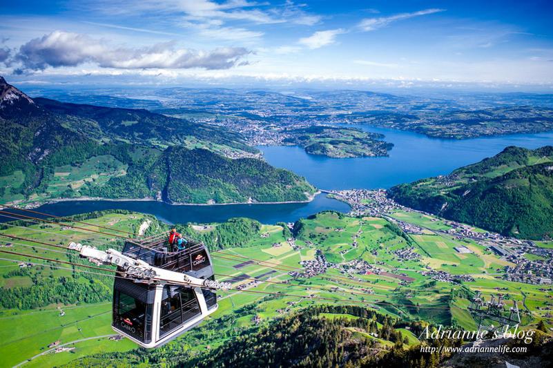 【環遊歐洲68天】Day29 瑞士琉森。搭乘世界第一台空中敞篷纜車CabriO,在石丹峰頂一覽壯麗美景!