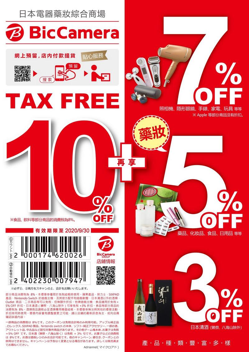 【日本購物】2020最新!日本BIC CAMERA優惠券下載(8%+7%折價券) ,搭配金融卡折扣最高83折!(內有購物攻略)