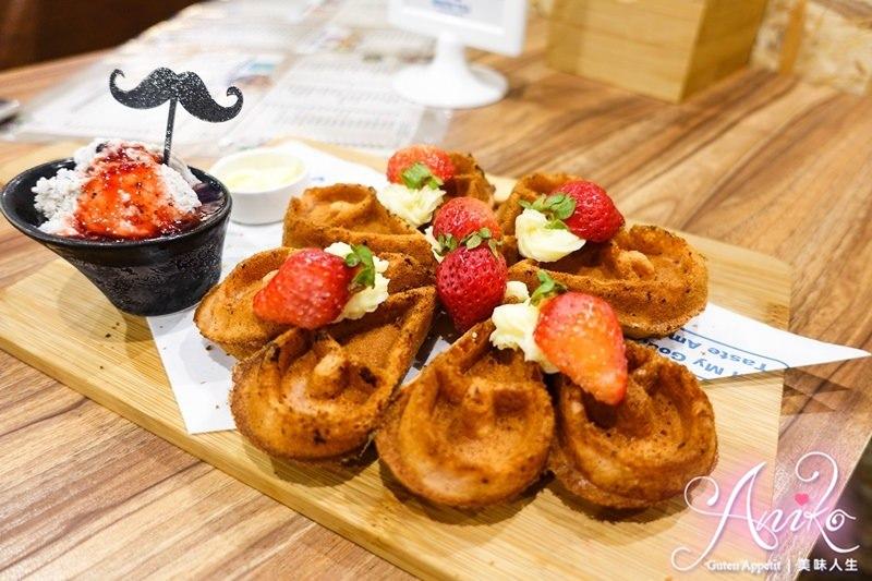 【台北美食】鬍子茶Who's TEA (永和中正店)。可愛夢幻系草莓鬆餅! 愛心形狀讓人少女心滿溢