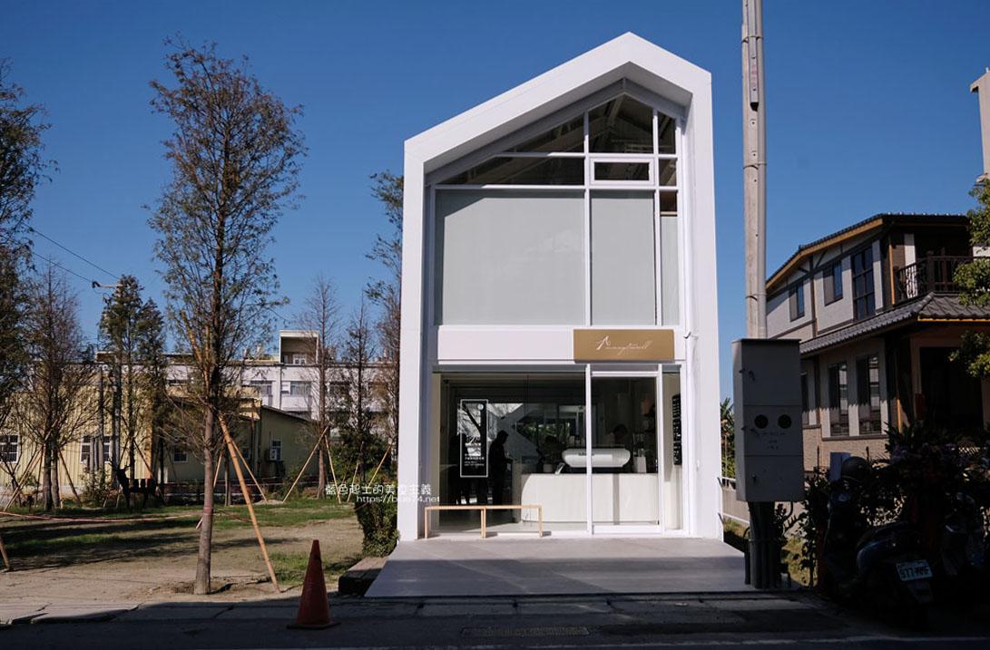 彰化秀水│沐光樹手感蛋糕捲專賣店-秀水最美咖啡甜點店,好拍白色建築與玻璃帷幕