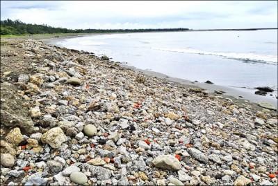 安平漁光島沙灘遍布廢棄石塊、磚塊,水利局下月進行整治。 (記者楊金城翻攝)