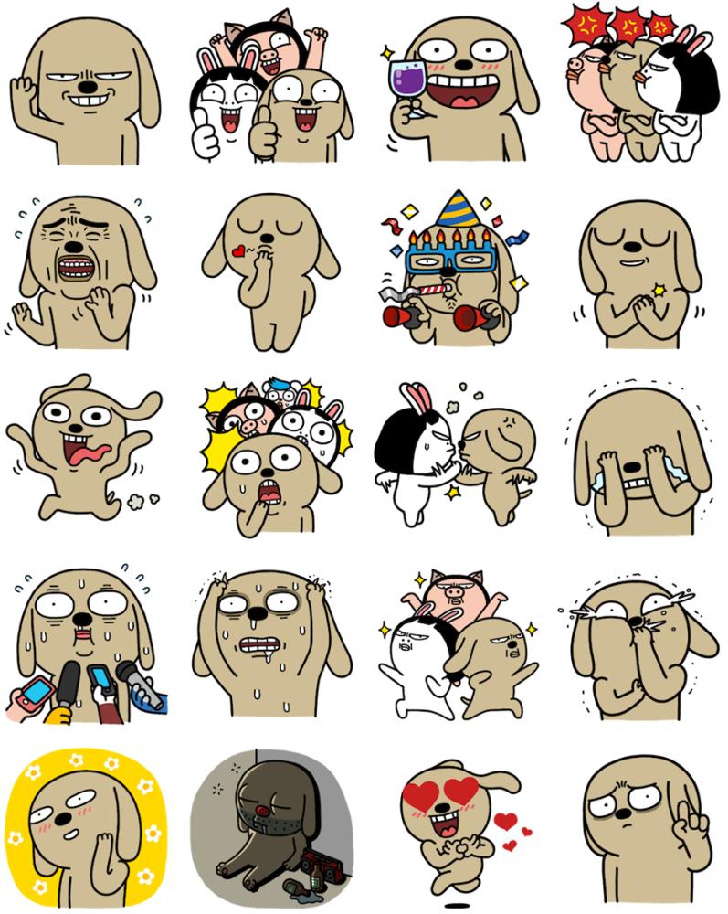 Facebook, 貼圖商店, 棕色狗狗與牠的朋友