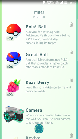 APP, Pokémon GO, 捕捉, 背包