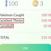 App, 精靈寶可夢GO, 經驗值, 成功捕捉寶可夢, Curveball + Excellent Throw