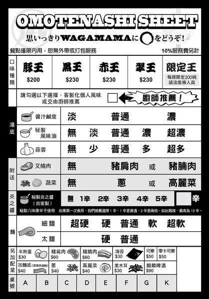 ラーメン凪 豚骨拉麵@西門店, 客製化點菜單