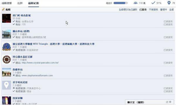 Facebook, 地標, 編輯地標, 編輯紀錄