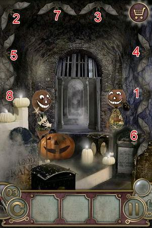 App, 逃出豪宅(Escape The Mansion), Halloween, Level 3, 解法