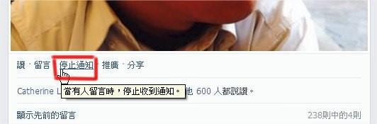 臉書(Facebook), 通知.停止通知