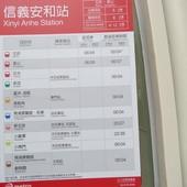 台北捷運, 紅線, 信義線, 信義安和站, 搭車時刻表