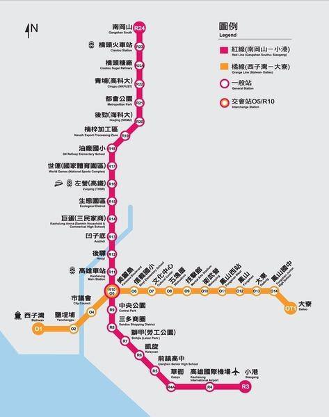 高雄捷運, 行駛路網圖, 121223