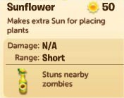 Plants vs. Zombies Adventures, Sunflower