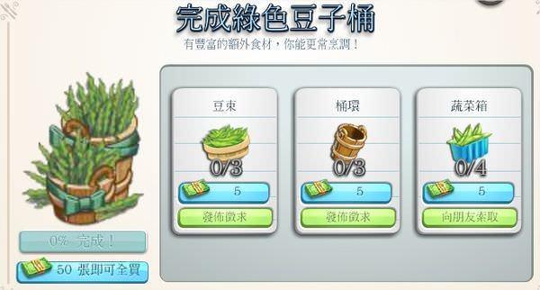 ChefVille, 綠色豆子桶