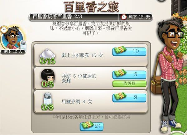 ChefVille, 任務:百里香之旅