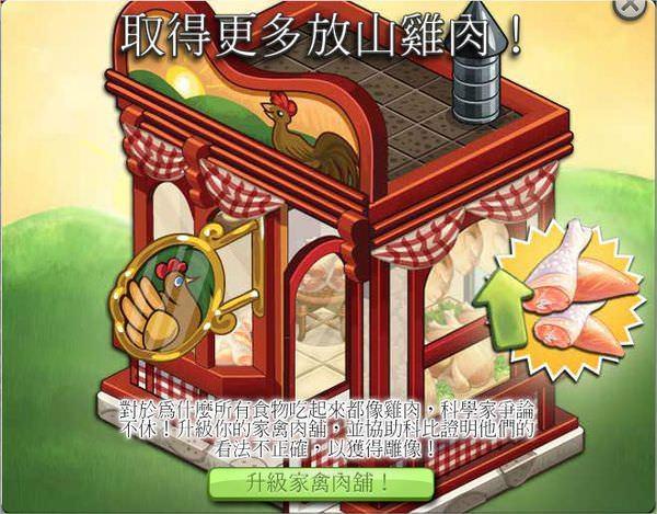 ChefVille(廚師小鎮)升級家禽肉舖任務