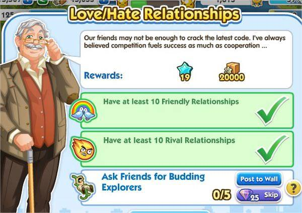 SimCity Social, Love/Hate Relationships