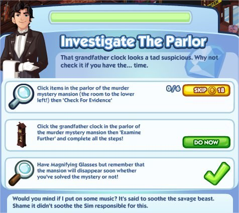 The Sims Social, Investigate The Parlor
