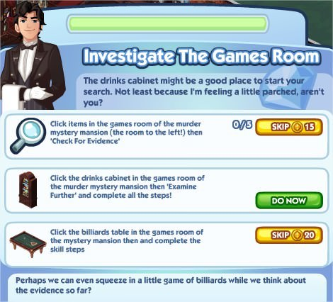 The Sims Social, Investigate The Games Room