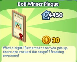 The Sims Social, Bob Winner Plaque