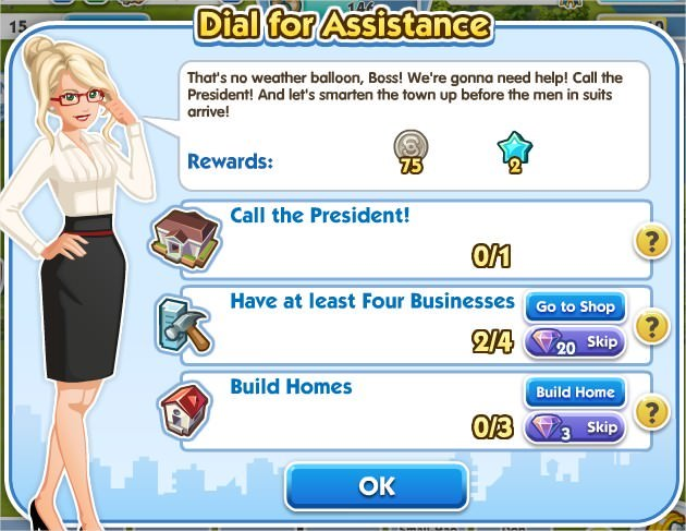 SimCity Social, Dial for Assistance