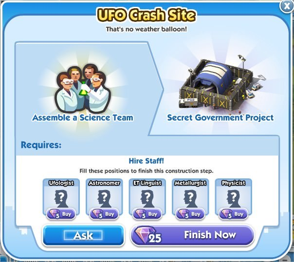 SimCity Social, UFO Crash Site