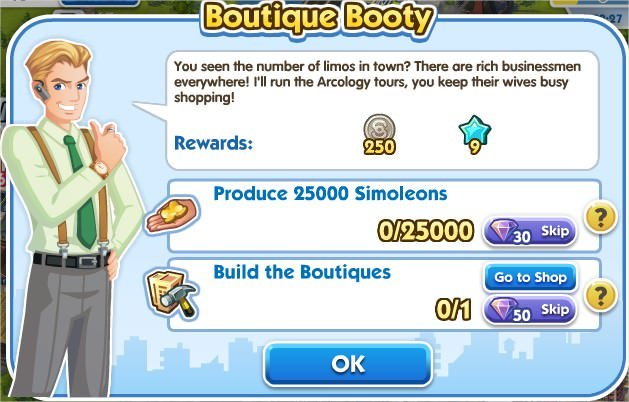 SimCity Social, Boutique Booty
