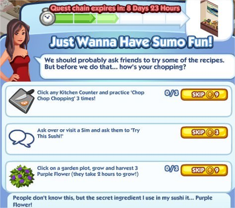 The Sims Social, Just Wanna Have Sumo Fun! 3