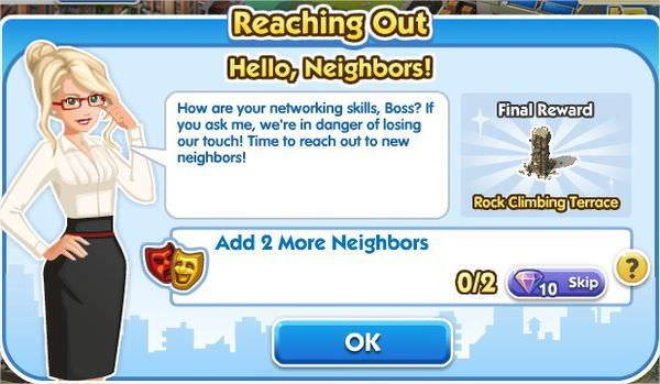 SimCity Social, Hello, Neighbors!