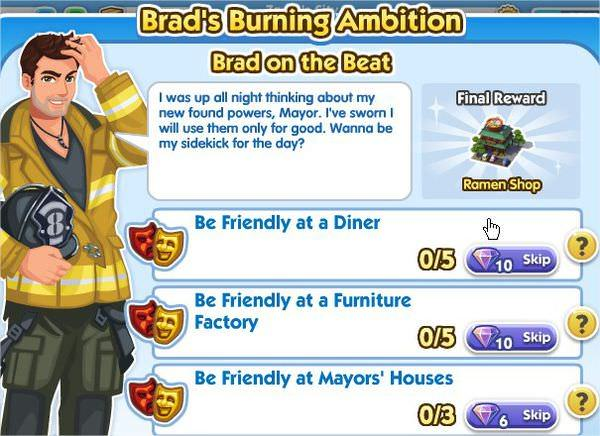 SimCity Social, Brad on the Beat