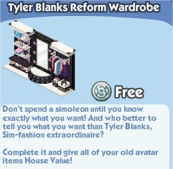 The Sims Social, Tyler Blanks Reform Wardrobe