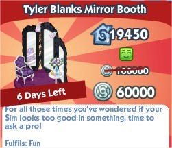 The Sims Social, Tyler Blanks Mirror Booth