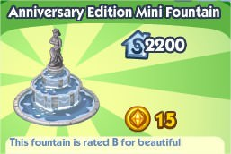 The Sims Social, Anniversary Edition Mini Fountain