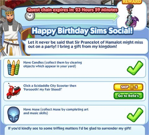 The Sims Social, Happy Birthday Sims Social!