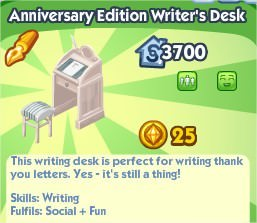 The Sims Social, Anniversary Edition Writter