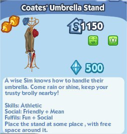 The Sims Social, Coate's Umbrella Stand