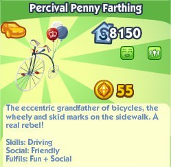 The Sims Social, Percival Penny Farthing