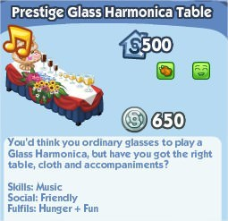 The Sims Social, Prestige Glass Harmonica Table
