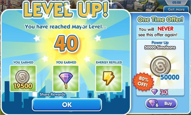 SimCity Social, level up