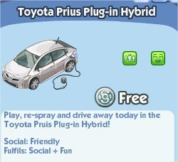 The Sims Social, Toyota Prius Plug-in Hybrid