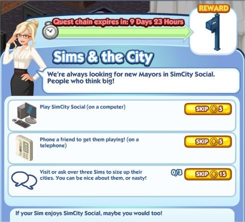 The Sims Social, Sims & the City