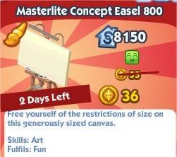 The Sims Social, Masterlite Concept Easel 800