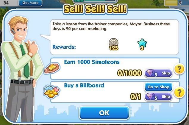SimCity Social, Sell! Sell! Sell!