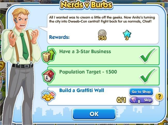 SimCity Social, Nerds v Burbs
