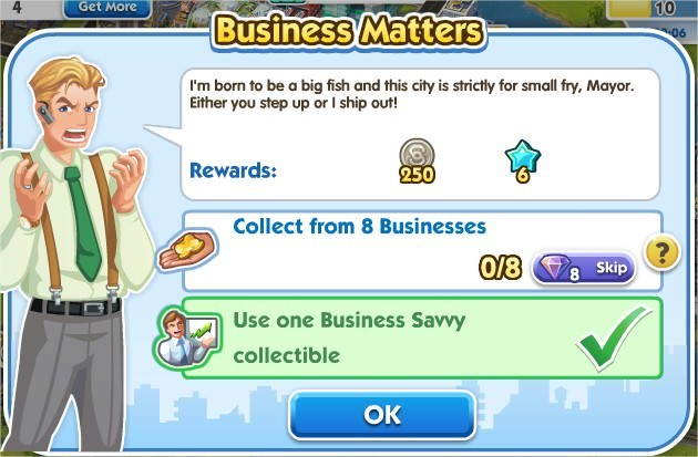 SimCity Social, Business Matters
