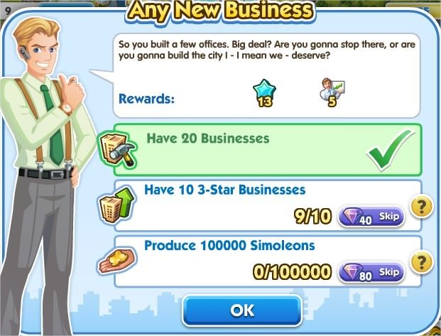 SimCity Social, Any New Business