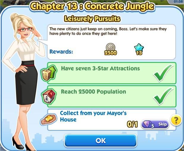 SimCity Social, Leisurely Pursuits