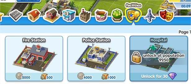 SimCity Social, Facilities(公共設施)