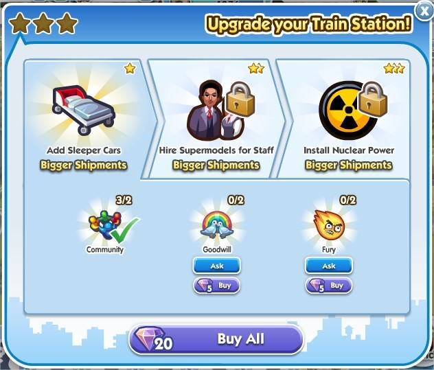 SimCity Social, 火車站(Train Station)