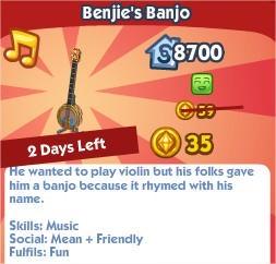 The Sims Social, Benjie's Banjo