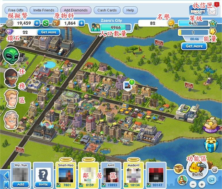 SimCity Social(模擬城市臉書版), 遊戲介面