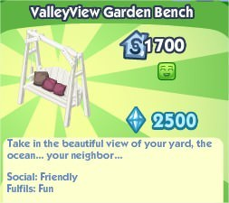 The Sims Social, ValleyView Garden Bench